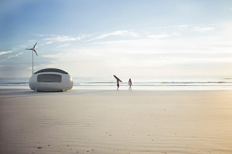 Ecocapsule am Strand