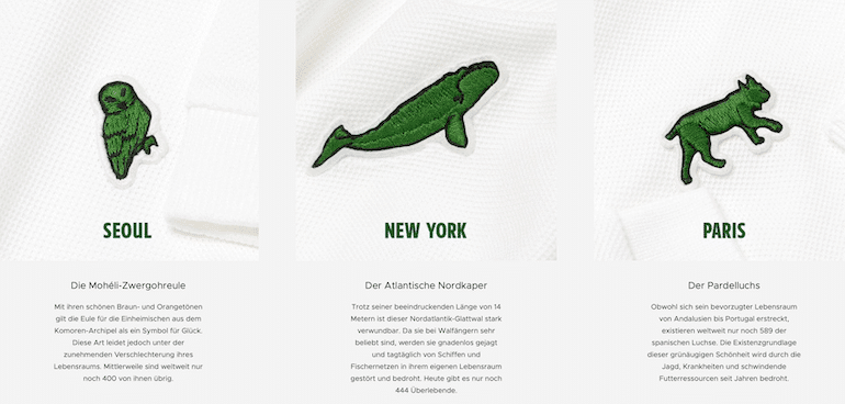 Lacoste – Save Our Species Beispiele