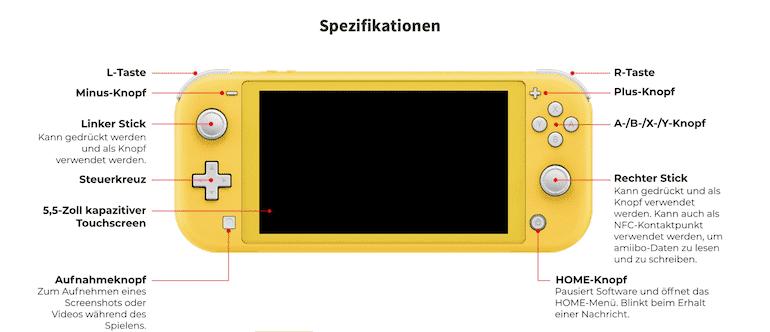 Nintendo Lite Spezifikation