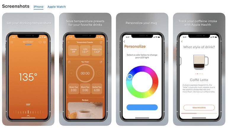 Ember Mug App für iOS Abbildung