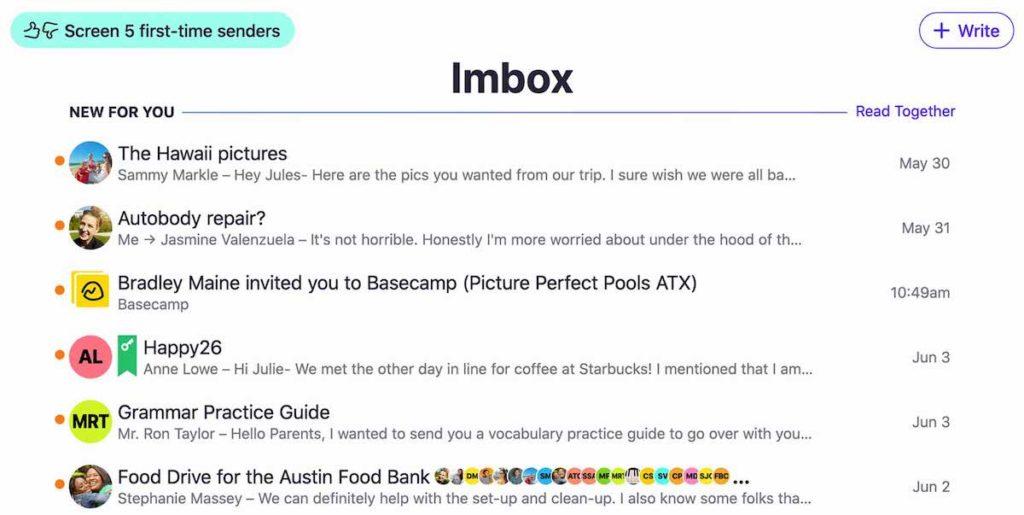 HEY E-Mail IMBOX Abbildung
