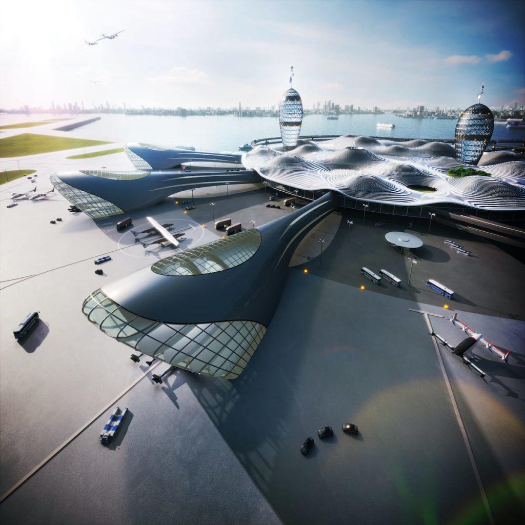 Detailansicht des Spaceport City