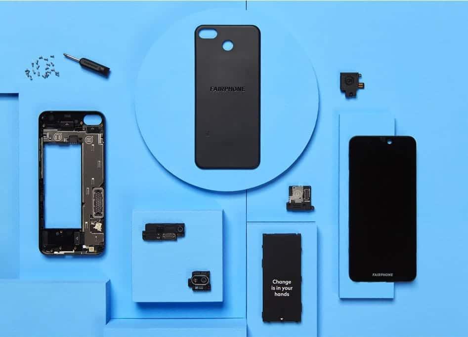 Modulare Bauteile des Fairphone 3 Plus Smartphones