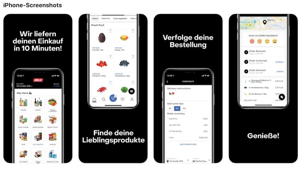 Gorillas Lieferdienst iOS App Abbildung