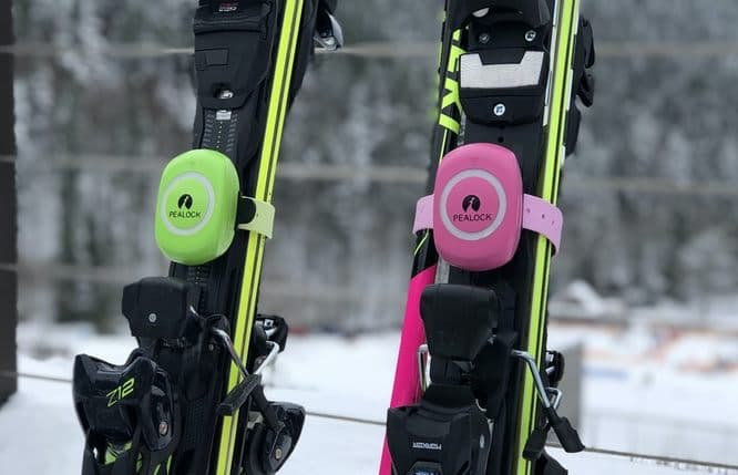 Ski Sicherung mit dem Pealock Schloss