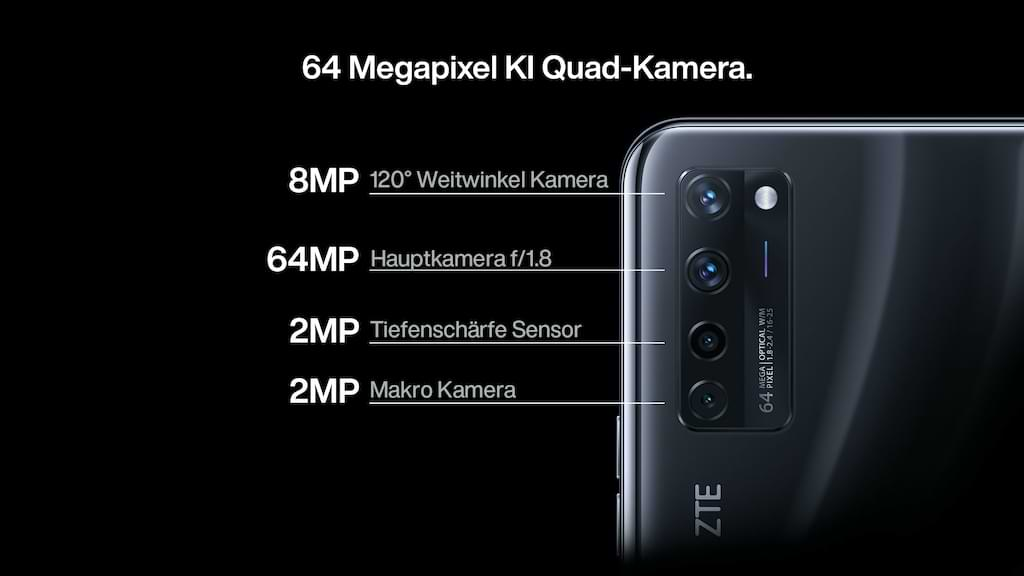ZTE Axon 20 mit 64 MP KI Quad-Kamera