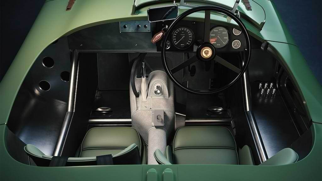 Interior und Cockpit des Jaguar C Type Continuation Modells 2021