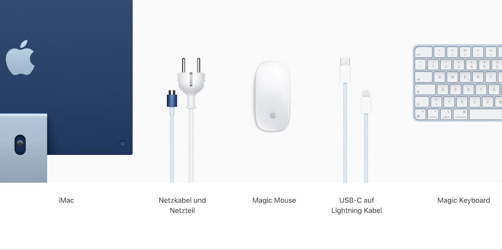 Lieferumfang des Apple M1 iMac
