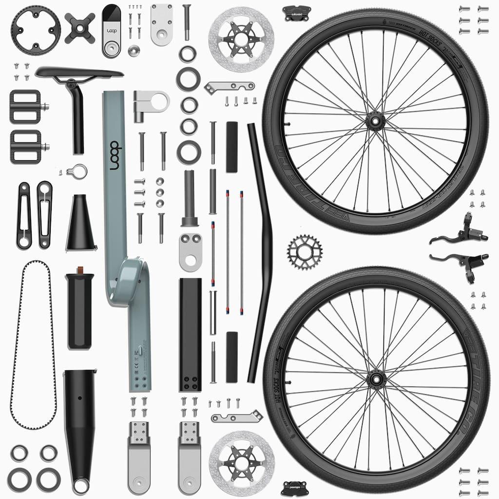 Einzelteile des Loop Bike