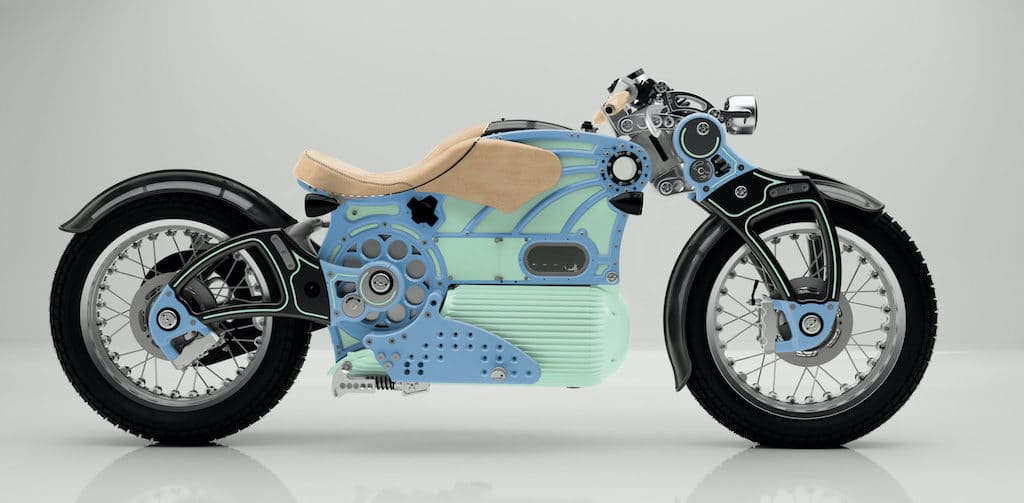 Curtiss ONE Blue and Green E-Motorrad