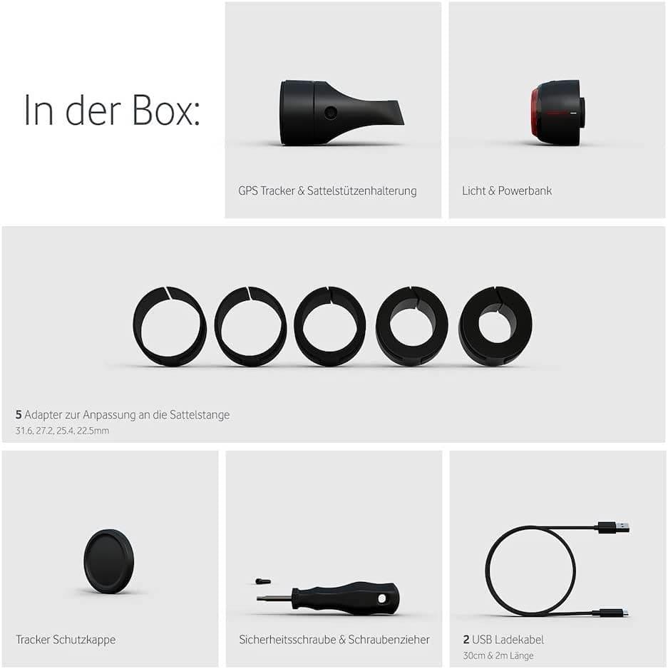 Vodafone Curve Bike Light & GPS Tracker Paketinhalt
